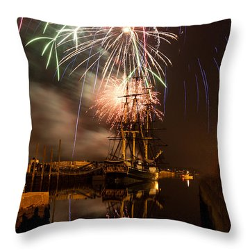 Fireworks Exploding Over Salem's Friendship Throw Pillow by Jeff Folger