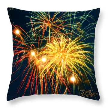 Throw Pillow featuring the photograph Fireworks Finale by Doug Kreuger