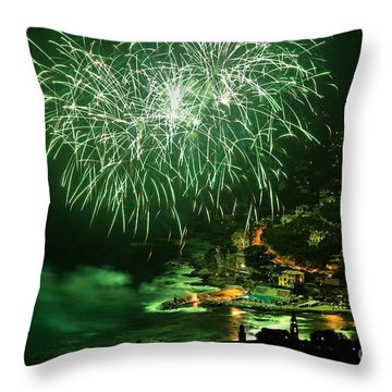 Throw Pillow featuring the photograph Fireworks Hdr by Antonio Scarpi