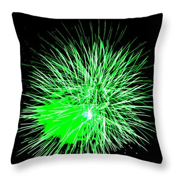 Throw Pillow featuring the photograph Fireworks In Green by Michael Porchik