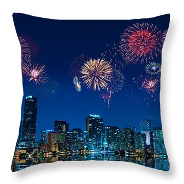 Fireworks In Miami Throw Pillow by Carsten Reisinger