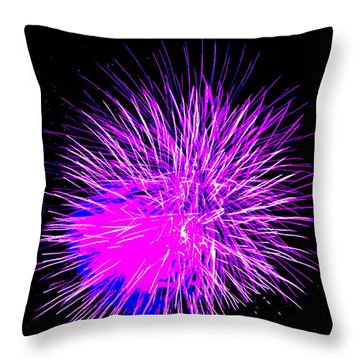 Throw Pillow featuring the photograph Fireworks In Purple by Michael Porchik