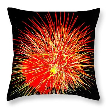 Throw Pillow featuring the photograph Fireworks In Red And Yellow by Michael Porchik