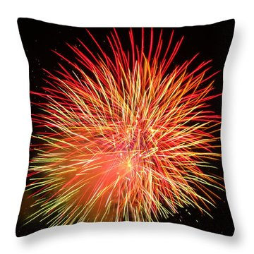 Throw Pillow featuring the photograph Fireworks  by Michael Porchik