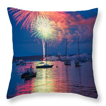 Fireworks Over Boothbay Harbor Throw Pillow