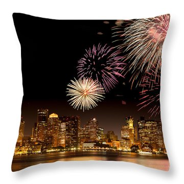 Fireworks Over Boston Harbor Throw Pillow