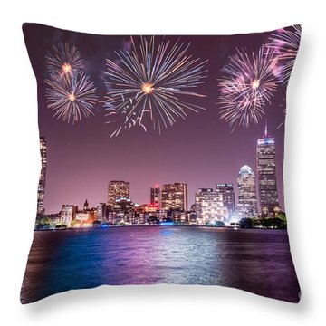 Fireworks Over Boston Throw Pillow