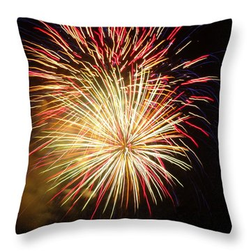 Throw Pillow featuring the photograph Fireworks Over Chesterbrook by Michael Porchik