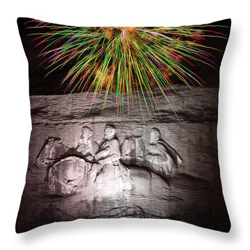 Fireworks Over Stone Mountain Throw Pillow