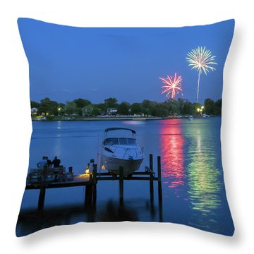 Fireworks Over Stony Creek Throw Pillow by Brian Wallace