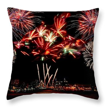 Fireworks Over The Delaware Throw Pillow by Nick Zelinsky
