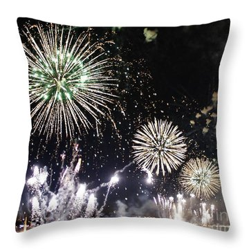 Throw Pillow featuring the photograph Fireworks Over The Hudson River by Lilliana Mendez