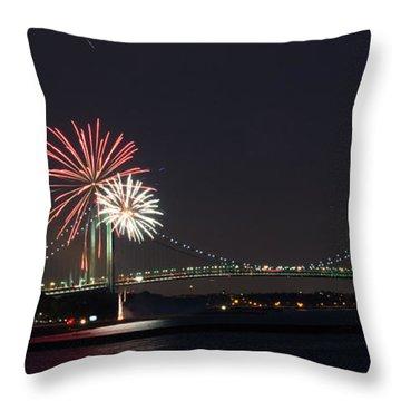 Fireworks Over Verrazano Bridge Throw Pillow