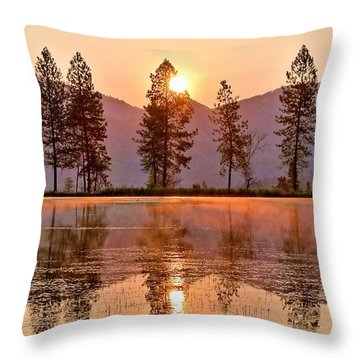 Firey Reflections Throw Pillow