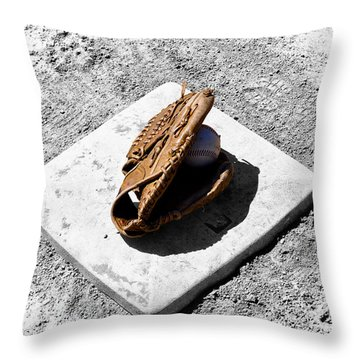 First Base Throw Pillow by Bill Cannon