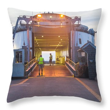 First Ferry Of The Day Throw Pillow