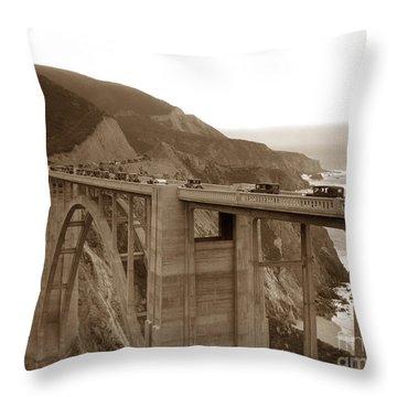 First Cars Across Bixby Creek  Bridge Big Sur California  Nov. 1932 Throw Pillow