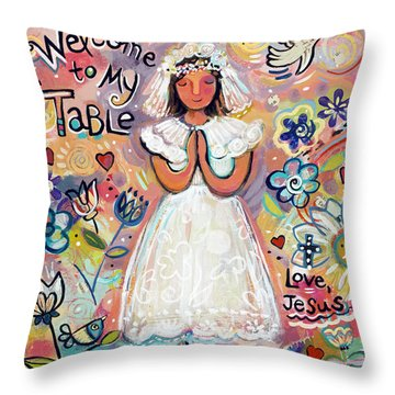 First Communion Girl Throw Pillow by Jen Norton