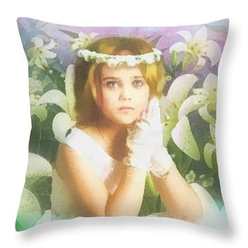 First Communion Throw Pillow by Mo T