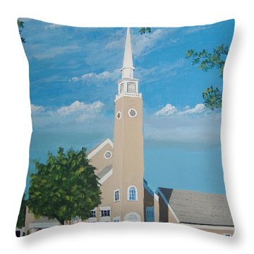 First Congregational Church Throw Pillow by Norm Starks