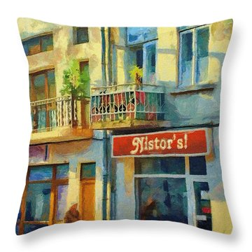 First Customer Of The Day Throw Pillow by Jeff Kolker