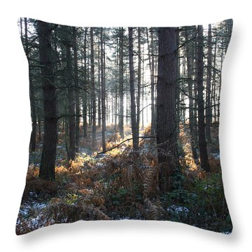 Throw Pillow featuring the photograph First Fall Of Snow On Cannock Chase by Jean Walker