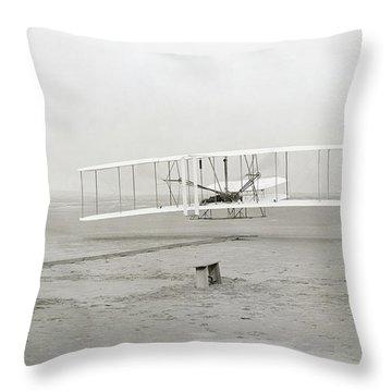 First Flight Captured On Glass Negative - 1903 Throw Pillow