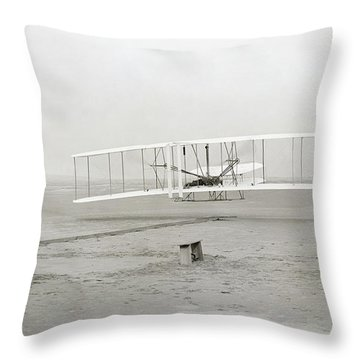 First Flight Captured On Glass Negative - 1903 Throw Pillow by Daniel Hagerman