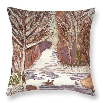 Throw Pillow featuring the painting First Footprints by Tracey Williams