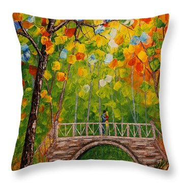 Throw Pillow featuring the painting First Kiss On The Bridge Original Acrylic Palette Knife Painting by Georgeta Blanaru