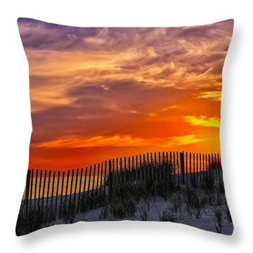 First Light At Cape Cod Beach  Throw Pillow by Susan Candelario