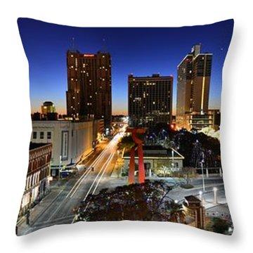First Light On San Antonio Skyline - Texas Throw Pillow