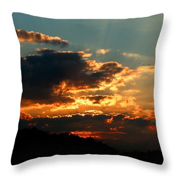 First Light Throw Pillow by Rebecca Davis