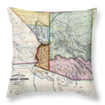 First Map Of Arizona Territory  1865 Throw Pillow by Daniel Hagerman