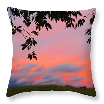 Throw Pillow featuring the photograph First October Sunset by Kathryn Meyer