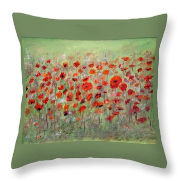 First Poppies Throw Pillow by Dorothy Maier
