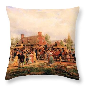 First Railroad Train On The Mohawk And Hudson Throw Pillow by Edward Henry