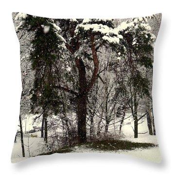 First Snow Throw Pillow by Henryk Gorecki