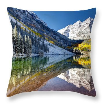First Snow Maroon Bells Throw Pillow