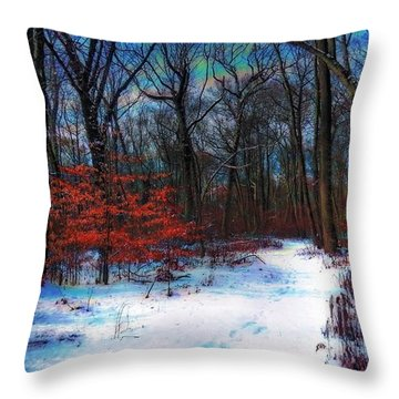 First Snow Throw Pillow by Mikki Cucuzzo