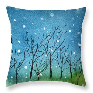 First Snow Throw Pillow by Oiyee At Oystudio
