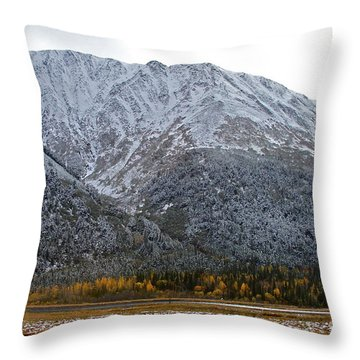 First Snow Throw Pillow by Rick  Monyahan