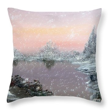 First Snowfall Throw Pillow by Alys Caviness-Gober