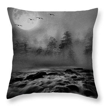 First Snowfall Geese Migrating Throw Pillow