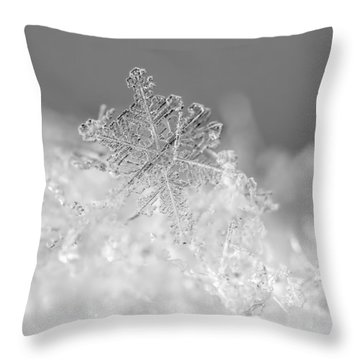 Throw Pillow featuring the photograph First Snowflake by Rona Black