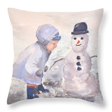 First Snowman Throw Pillow by Genevieve Brown