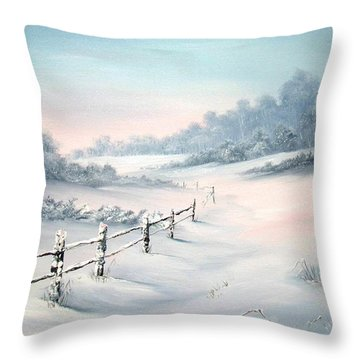 Throw Pillow featuring the painting First Snows by Jean Walker