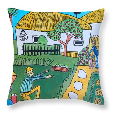 Throw Pillow featuring the painting First Step by Artists With Autism Inc