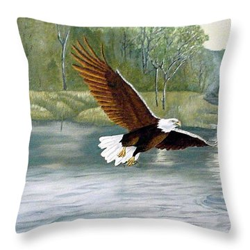 Throw Pillow featuring the painting First Strike by Fran Brooks