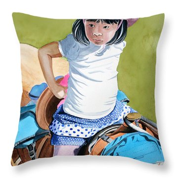 First Time Throw Pillow by Debbie Hart